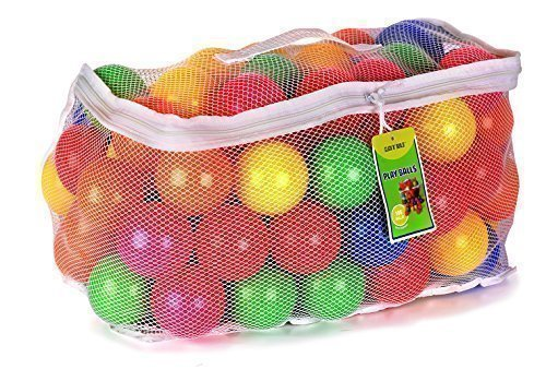 Click N Play Pack of 100 Phthalate Free BPA Free Crush Proof Plastic Ball, Pit Balls - 6 Bright Colors in Reusable and Durable Storage Mesh Bag with Zipper