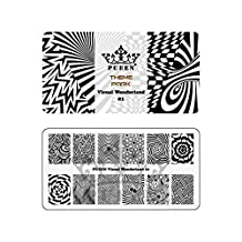 PUEEN Nail Art Stamping Plate - Visual Wonderland 01 - Theme Park Collection 125x65mm Unique Nailart Polish Stamping Manicure Image Plates Accessories Kit - BH000714