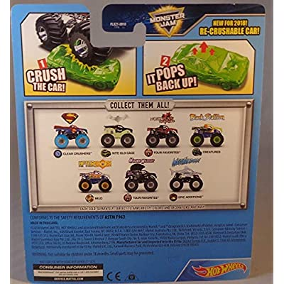 HW 2020 Hot Wheels Monster Jam Superman 4/4 Clear Crushers Re-Crushable Car: Toys & Games