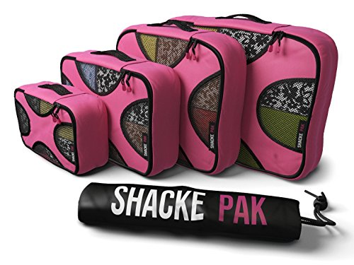 (Shacke Pak - 4 Set Packing Cubes - Travel Organizers with Laundry Bag (Precious Pink))