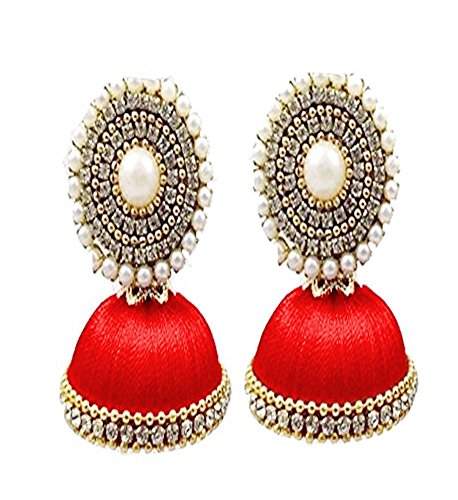 Stylish And Designer Trendy Stud Jhumki Set Stud Earring In Different Colors - Red