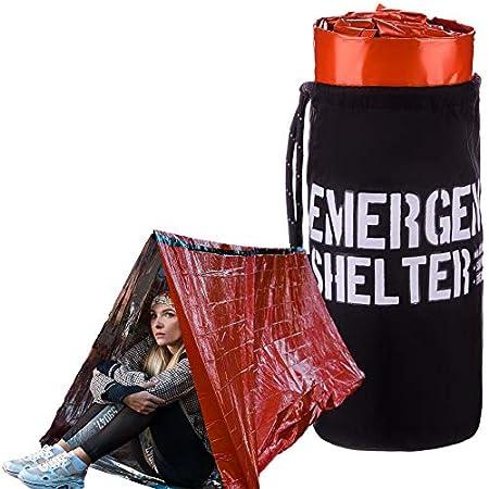 Abri d'urgence – Tente tube d'urgence – Tente de survie réfléchissante en Mylar – Comprend sifflet, boussole et crochet… 1