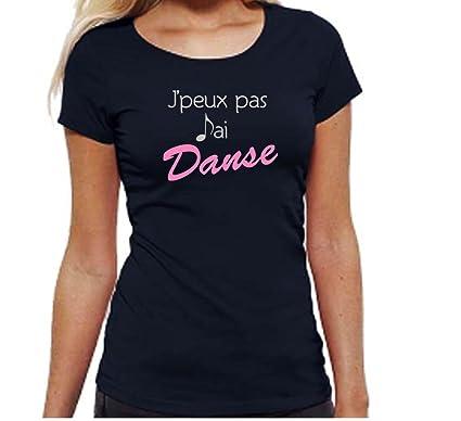 4ab74332777 Solenzo T-Shirt Noir Femme et Enfant Fille J peux Pas J Ai Danse ...