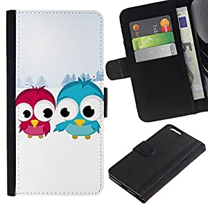 KingStore / Leather Etui en cuir / Apple Iphone 6 PLUS 5.5 / Divertidos pájaro lindo Amigos