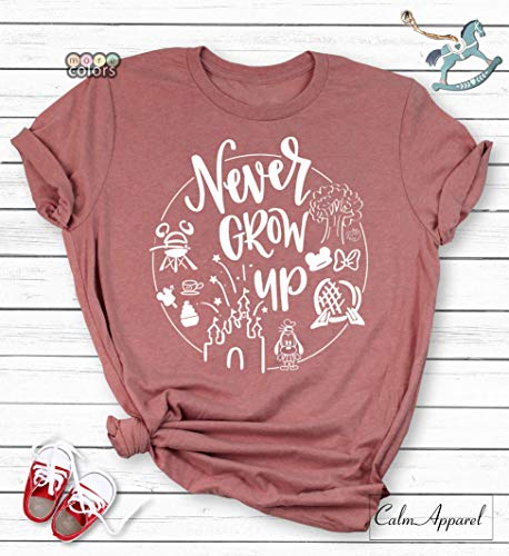 Never Grow Up Disney Shirt, Disneyland World Trip Group Tanks, Trendy, Holiday Vacation T-Shirt, Unisex Women's Tank Tops