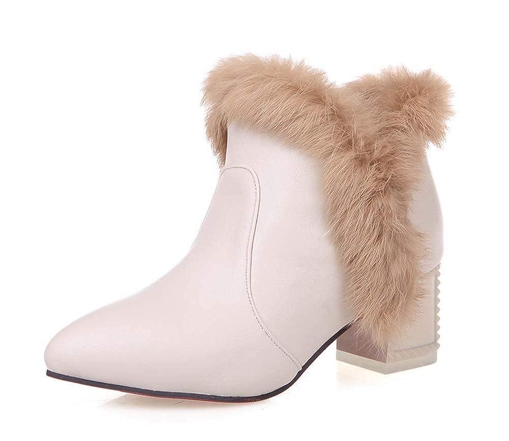 Frau Mode Spitz Plüsch Stiefel 2018 Herbst Winter Hoher Absatz Stiefel Draussen Warm Schnee Stiefel