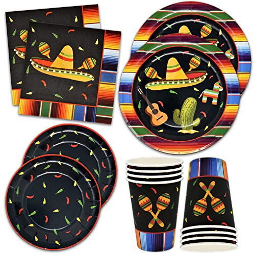 Fiesta Plates and Napkins for 24 Guests for Mexican Party Decorations Cinco De Mayo Supplies 24 9
