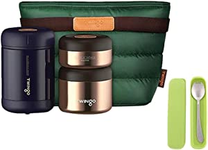 Twingo Double Wall Vacuum Insulated Stainless Steel Thermal Lunch box Bento box Food Container with Spoon & Insulated Lunch bag, BPA Free,Leakproof