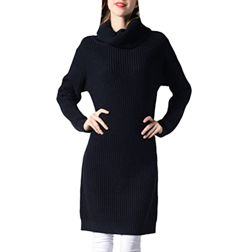 Zhhlaixing Suéter hermoso Fashion Knitted Sweater Long Section of High Dress Collar Shirt Multicolor...