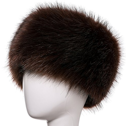 Dikoaina Faux Fur Cossack Russian Style Hat for Ladies Winter Hats for Women (M, Brown)]()
