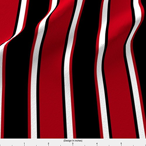 Spoonflower Black Fabric Black, Dark Red, And White Thin And Thick Stripes by Mtothefifthpower Printed on Minky Fabric by the (Minky Line Fabric)