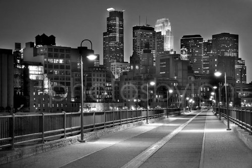 Stone Arch Bridge - Minneapolis Skyline DUSK Black & White B&W View from Stone Arch Bridge Signed by Artist CHOOSE FROM FOUR SIZES Photographic Standard Size