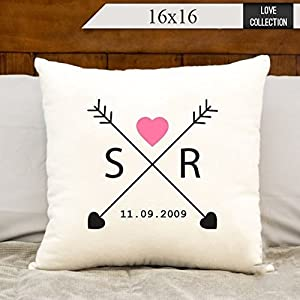 Love arrows pillowcase, monogrammed initials pillow cover, Personalized pillow cover, est date, bridal shower gift, 16x16