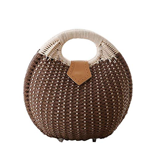 Mimbre Mujeres Summer Brown Bucket Handbag PUWEN Straw Strawberry Fashion Vacation Top Brown Color Handle pHTxqgwR
