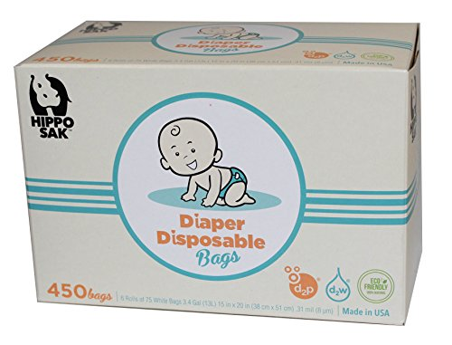 Hippo Sak® Antibacterial Diaper Disposal Bags with d2w Controlled Life Plastic, 450 Count