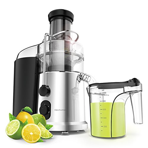 Big Mouth Centrifugal Juicer - Elechomes CJ901 High Speed for Fruit and Vegetables Dual Speed Setting, 900 Watts Whole Fruit Big Mouth Juice Extractor with Premium Food Grade Titanium Coated Cutter