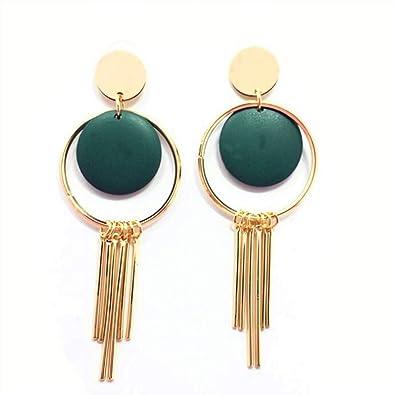 6a799a78d2af Ankamal Elec® Pendientes largos de borlas verdes para mujer