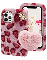 Cestor for Samsung Galaxy S21 Ultra 5G Furry Case,Stylish Women Girls Cute 3D Heart Ball Chain Pendant Leopard Plush Winter Warm Faux Rabbit Fur Fluffy Silicone Case with Diamond Bowknot,Hot Pink