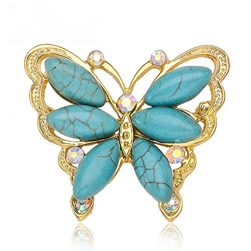 (Teniu Animal Butterfly Brooch Rhinestone Turquoise Brooch Diamond Brooch Pins Silver/Gold Plated)