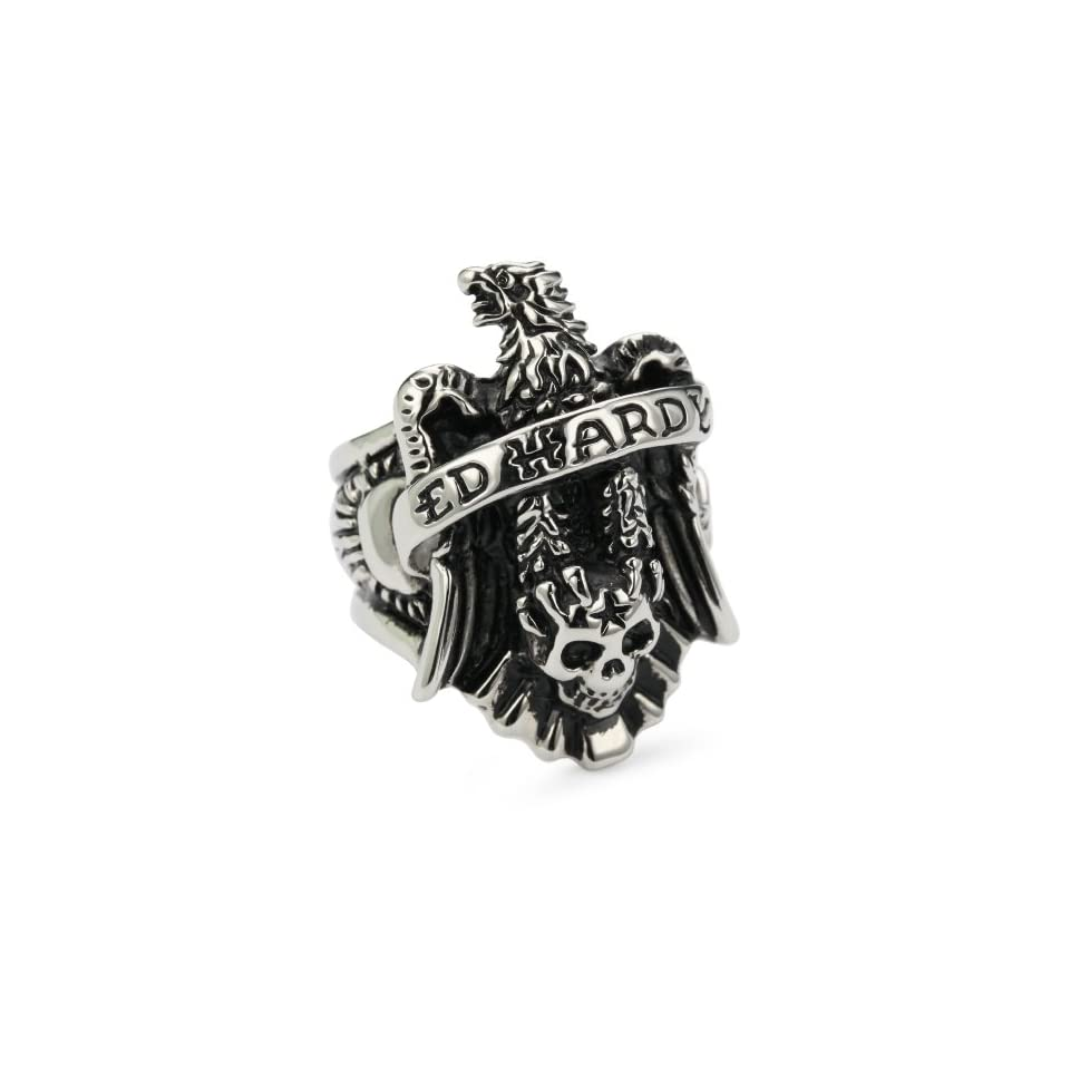 Ed Hardy Eagle Stainless Steel Ring, Size 10 Jewelry