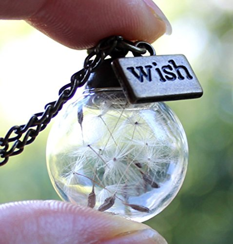 - Handmade Real Dandelion Wish Necklace Make A Wish Real Dandelion Seed Pendant Necklace Dried Dandelion Necklaces For Women Graduation Gift