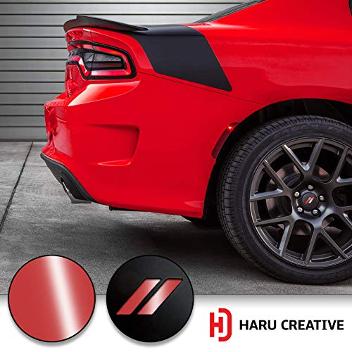 Haru Creative - Stripe Hash Rhombus Wheel Center Cap Overlay Vinyl Decal Compatible with and Fits Dodge Charger and Challenger 2017 2018 (no Wheel caps Included) - Gloss - Overlay Center