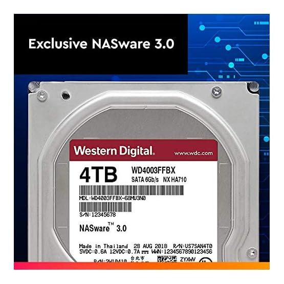 """WD Red Pro 4TB NAS Internal Hard Drive - 7200 RPM Class, SATA 6 Gb/s, CMR, 256 MB Cache, 3.5"""" - WD4003FFBX 51aJ8EkdGGL. SS555"""