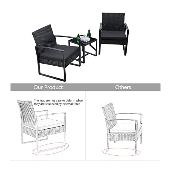 Flamaker 3 Pieces Patio Set Outdoor Wicker Patio Furniture Sets Modern Bistro Set Rattan Chair Conversation Sets with Coffee Table for Yard and Bistro (Black) - 【Simple & Practical】 Closed armrest and leg design makes the chair simple but modern and no need to worry about the rattan falling off when they are used after a long time. 【Sturdy & Durable】The powder coated steel frame are rust-proof and high-quality hand woven weather-resistant PE wicker won't fade.Each seat supports up to 250 pounds. 【Upgraded Comfort】The wide and deep chairs cushioned by very soft padded seat cushions will make you forget your fatigue and enjoy your leisure time completely. - patio-furniture, patio, conversation-sets - 51aJ8bm 5JL. SS570  -