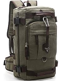 Aidonger Unisex Vintage Canvas Backpack Shoulder Bag Hiking Backpack (Army Green)