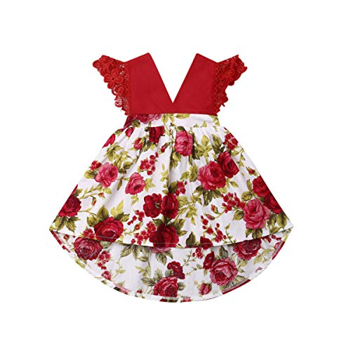 Red Dresses For Little Girls (Toddler Baby Girl 2Pcs Romper + Headband Floral Sleeveless Lace Infant Newborn Jumpsuit Sets (2-3 Years, Red -)