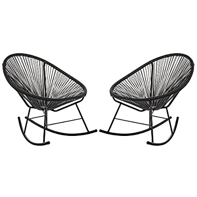 Acapulco Woven Basket Rocking Chair, Set of 2, Black - Set of 2 indoor/outdoor basket rocking chairs. Durable plastic cord weave cradles the body. Accent the chair with pillows or blankets. Black powder-coated rust-proof iron frame. - patio-furniture, patio-chairs, patio - 51aJ91JWW1L. SS400  -