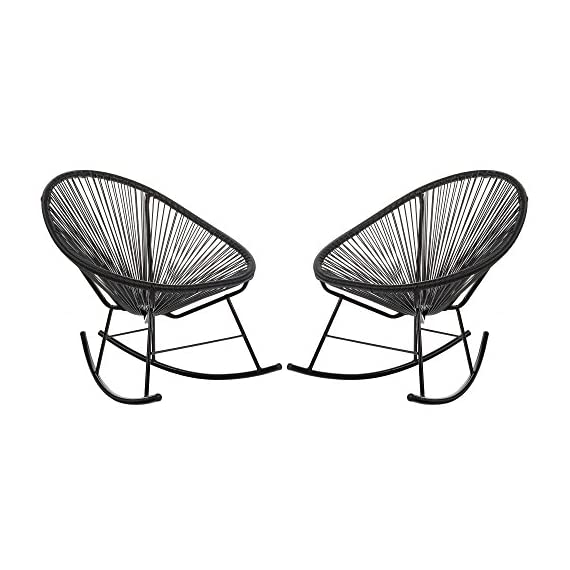 Acapulco Woven Basket Rocking Chair, Set of 2, Black - Set of 2 indoor/outdoor basket rocking chairs. Durable plastic cord weave cradles the body. Accent the chair with pillows or blankets. Black powder-coated rust-proof iron frame. - patio-furniture, patio-chairs, patio - 51aJ91JWW1L. SS570  -