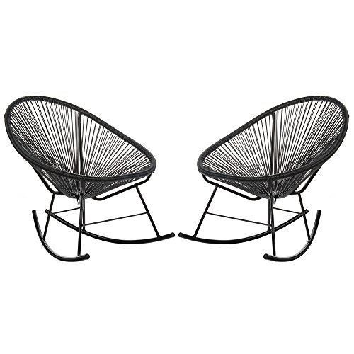 Acapulco Woven Basket Rocking Chair, Set of 2, Black