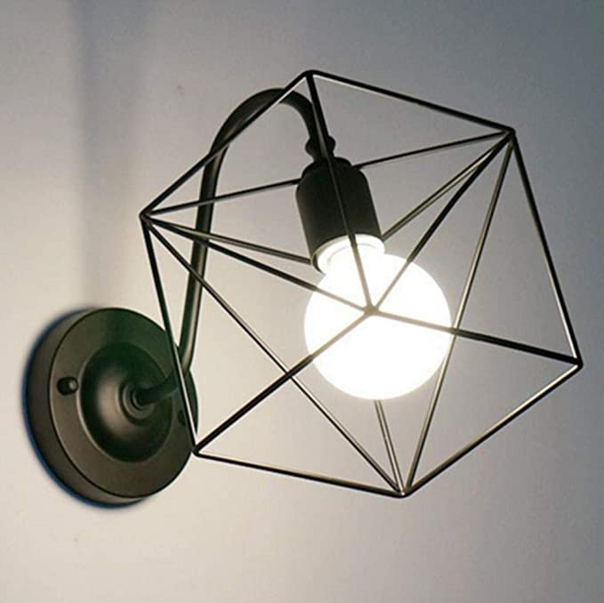 ZXINHome Cubo 3D Lámparas de Pared Para Interiores LED Lámpara de Hierro Forjado Aplique de Iluminación Escaleras Junto a La Cama Vanity Lights Room Lámparas de Pared Para Interiores Deco black: Amazon.es: