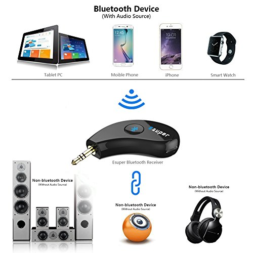Bluetooth Receiver / Car Kit, Esuper Bluetooth Aux Adapter 3.5mm Wireles Audio Stereo Output for Home Audio Music Streaming Sound System( Bluetooth 4.2,A2DP, Hands-free Call ,40feet Bluetooth Range) by Esuper (Image #4)
