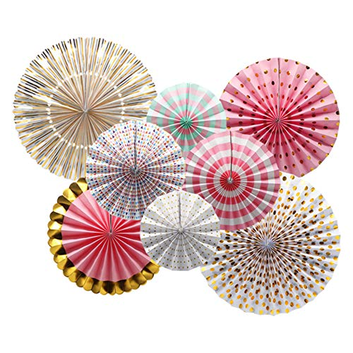 KAXIXI Party Hanging Paper Fans Decorations, Wedding Birthday Bachelorette Bridal Shower Party Ceiling Hangings Gender Reveal Baby Shower Party Decorations, 8pc]()