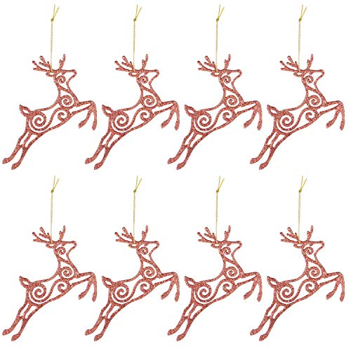 SiegenPro Christmas Hanging Ornaments, 8ct Christmas Decorations Tree Hanging Ornament Reindeer Set for Xmas Tree Party Decoration, Christmas Hanging with String