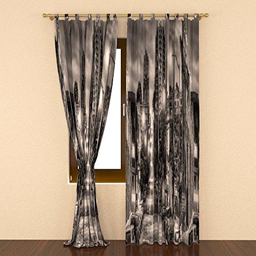 IrisUSA One Panel 100% Polyester Night City Themed Room Darkening Curtain Window Drape for Home Decor, Transparent (52
