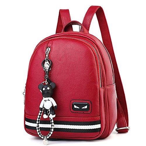 (JVP1074-P) Señoras mochila de cuero PU anillo a prueba de agua para niñas de gran capacidad de viaje bolso moda simple lindo suburbano escuela Roja