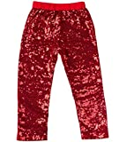 Messy Code Gorgeous Girls Sequin Leggings,Red,XXL(4-5Y)