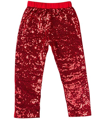 Messy Code Gorgeous Girls Sequin Leggings M(1-2Y)Red