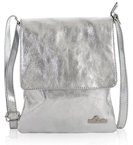 LiaTalia suave bolsa Plata con Bolso medio mujer Tamaño para de Metálico AMBER de hombro piel protectora crossbody BpSBxv