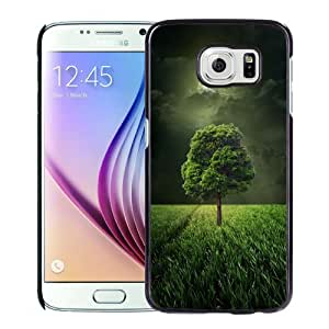 Beautiful Custom Designed Cover Case For Samsung Galaxy S6 With Green Tree Under The Moolight Phone Case