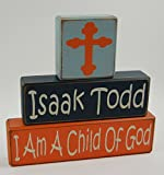 I Am A Child Of God-Custom-Personalized Name – Primitive Country Wood Stacking Sign Blocks-Baptism-Christening Gift For Kids Home Decor Review