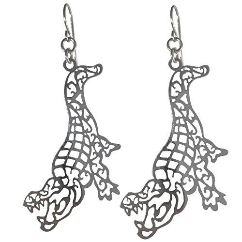 (Laser Cut Alligator Open Filigree Swirl Dangle Drop Earrings (Silver Tone))