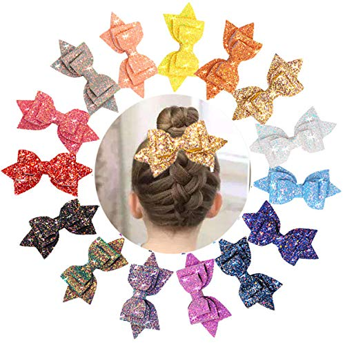 15 Colors Big Bow Clips for Girls Glitter Hair Bows 5 Inch Sparkle Sequins Bows Alligator Hair Clips For Baby Girls Teens - Inch 5 Sequins