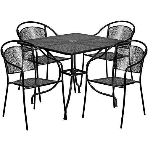 Cheap  Flash Furniture 35.5'' Square Black Indoor-Outdoor Steel Patio Table Set with 4..