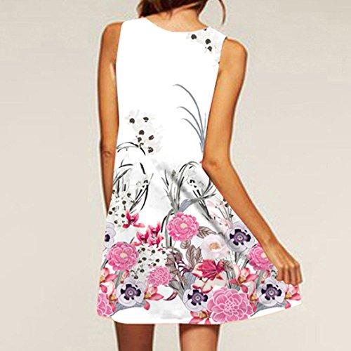 NREALY Women's Vintage Boho Summer Sleeveless Beach Printed Short Mini Dress Vestido(S, Pink) by NREALY (Image #2)