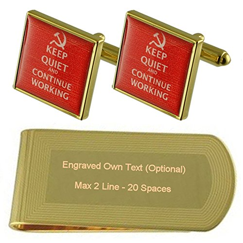 tone Engraved Soviet Text Clip Gold USSR Gift Cufflinks Set Money gt0xqSw4