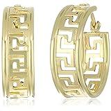 10k Yellow Gold Greek Key Hoop Earrings